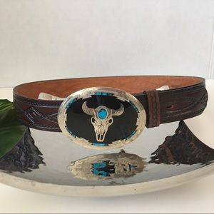 Accessories - Turquoise Embedded Leather Bull Western Belt